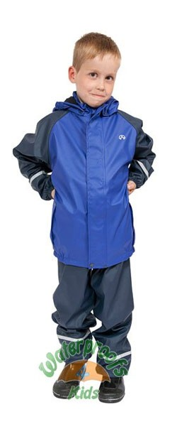 Elka Childrens Fleece Lined Waterproof Suit in Blue/Navy