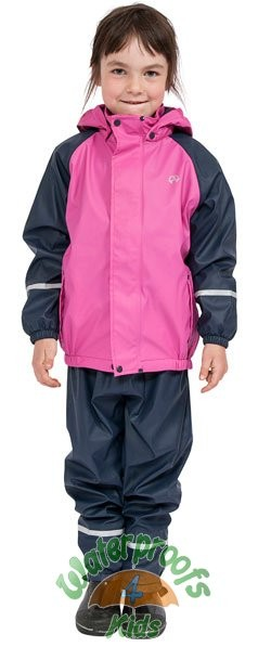 Elka Childrens Fleece Lined Waterproof Suit in Pink/Navy