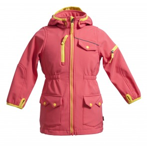 Long Model Softshell Jacket With Fleece Backing In Contrast Colour