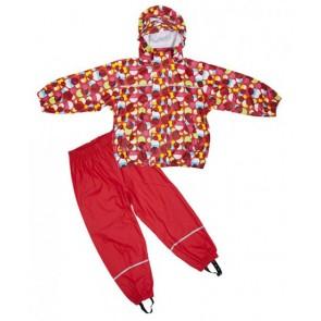 Elka Childrens Circles Waterproof Suit in Red