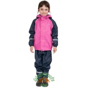 Elka Childrens Fleece Lined Waterproof Suit in Pink/Navy