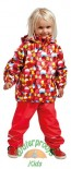 Elka Childrens Circles Waterproof Suit in Red